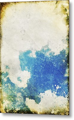 Blue Sky And Cloud On Old Grunge Paper Metal Print by Setsiri Silapasuwanchai