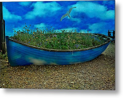Metal Print featuring the photograph Blue Sky Boat  by Chris Lord