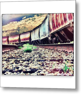 Blue Sky Train Metal Print by Mari Posa