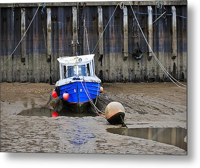Blue Small Boat Metal Print by Svetlana Sewell