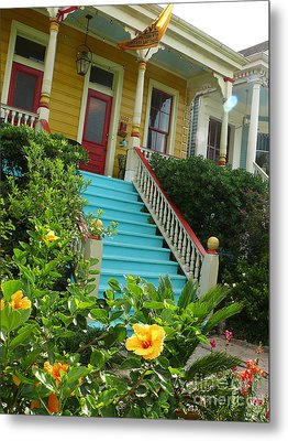 Metal Print featuring the photograph Blue Stairs Yellow House by Jeanne  Woods