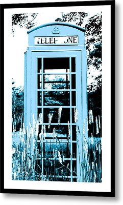 Blue Telephone Booth In A Field In Maine Metal Print