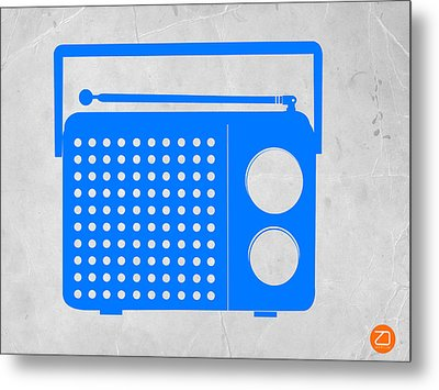 Blue Transistor Radio Metal Print by Naxart Studio