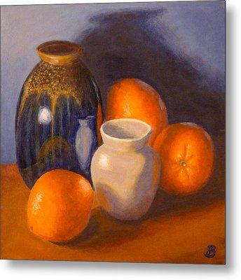 Metal Print featuring the painting Blue Vase by Joe Bergholm