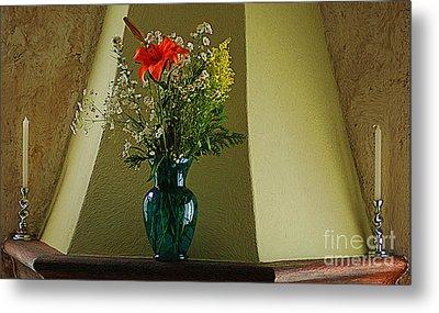 Metal Print featuring the digital art Blue Vase With Orange Flower by John  Kolenberg