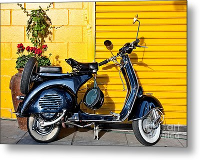 Metal Print featuring the photograph Blue Vespa Profile by Sonny Marcyan