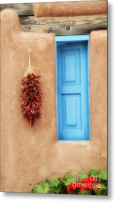Blue Window Chillies Metal Print