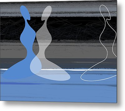 Blue Women Metal Print by Naxart Studio