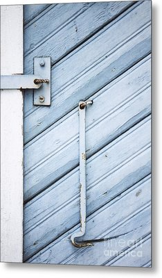 Metal Print featuring the photograph Blue Wooden Wall With Metal Hook by Agnieszka Kubica