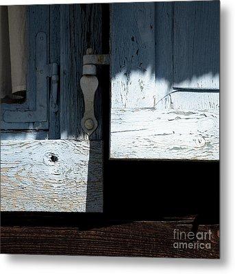 Metal Print featuring the photograph Blue Wooden Window Shutters by Agnieszka Kubica