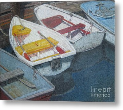 Blue Yellow And Red Boats Tremont Maine Metal Print