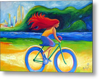 Blueberry Wheels Metal Print by Janet Oh