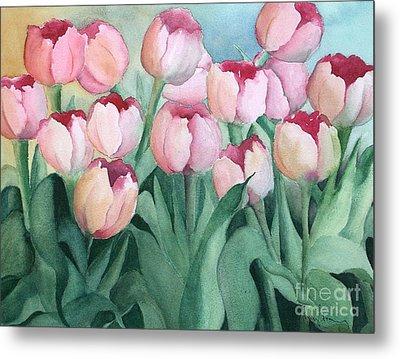 Blushing Tulips Metal Print