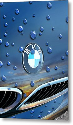 Bmw - Roundel And Raindrops Metal Print by Rod Seel