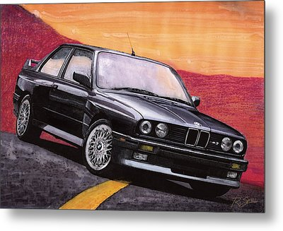 Metal Print featuring the painting Bmw E30 M3 by Rod Seel
