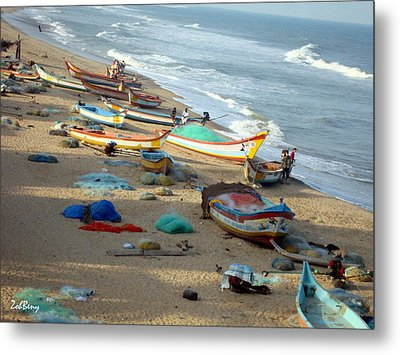 Boat And Ocean - South India Metal Print by Zoh Beny