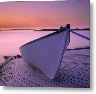 Boat At Dawn, Harrington Harbour, Lower Metal Print by Yves Marcoux