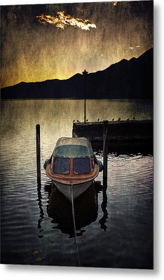 Boat During Sunset Metal Print by Joana Kruse