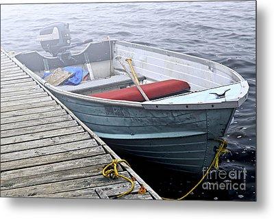 Boat In Fog Metal Print by Elena Elisseeva