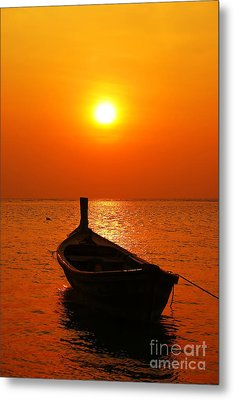Boat In Sunset  Metal Print by Anusorn Phuengprasert nachol
