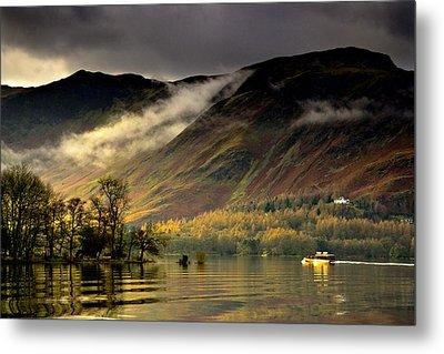 Boat On Lake Derwent, Cumbria, England Metal Print by John Short