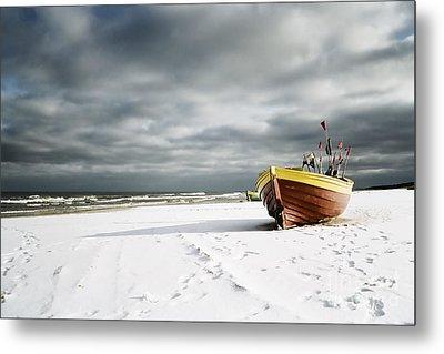 Boat On Snowy Beach Metal Print