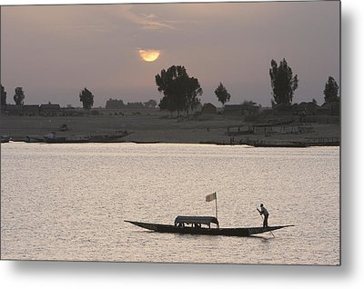 Boat On The Niger River In Mopti, Mali Metal Print by Peter Langer
