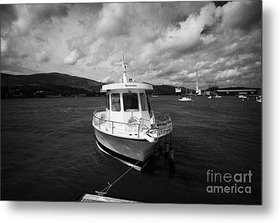 Boat Used As A Small International Passenger Ferry Crossing The Mouth Of Carlingford Lough Metal Print by Joe Fox
