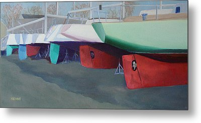 Boat Yard Island Heights Metal Print by Robert Henne