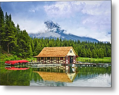Boathouse On Mountain Lake Metal Print by Elena Elisseeva