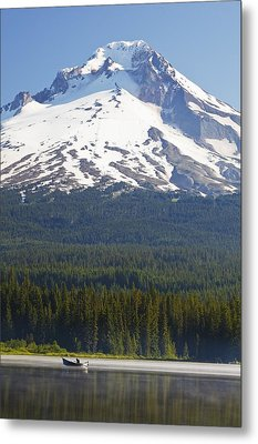 Boating In Trillium Lake With Mount Metal Print by Craig Tuttle