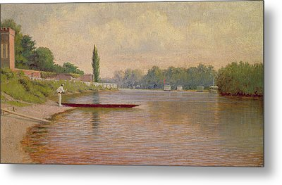 Boating On The Thames Metal Print by John Mulcaster Carrick