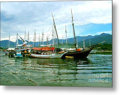 Metal Print featuring the photograph Boats At Paraty Brasil by Nareeta Martin