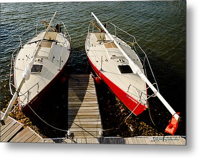 Boats Docked Metal Print by Johnny Sandaire