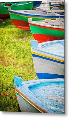 Boats In A Row II Metal Print by Silvia Ganora