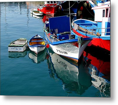 Boats In Los Christianos Metal Print by Barbara Walsh