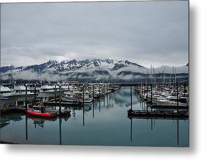 Boats In Marina With Snow Capped Metal Print by Jorge Fajl