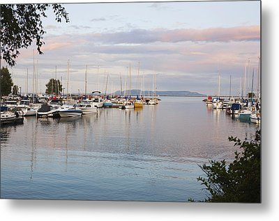 Boats In The Harbour At Sunset Thunder Metal Print by Susan Dykstra