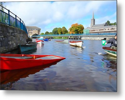 Metal Print featuring the photograph Boats On The Garavogue by Charlie and Norma Brock