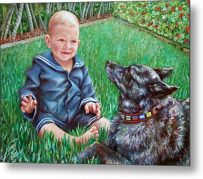 Metal Print featuring the painting Bobby And Cinder by Nancy Tilles