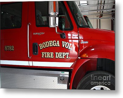 Bodega Volunteer Fire Department Fire Engine . Bodega Bay . Town Of Bodega . California . 7d12459 Metal Print by Wingsdomain Art and Photography