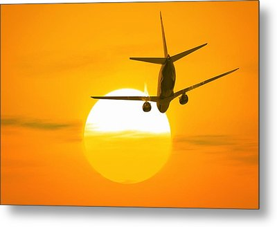 Boeing 737 Ascending At Sunset, Artwork Metal Print
