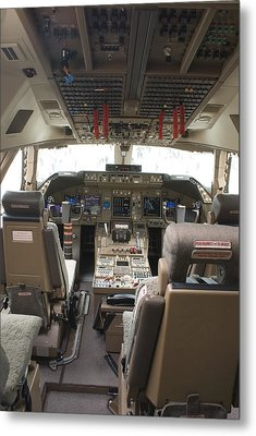 Boeing 747-8 Flight Deck Metal Print by Mark Williamson