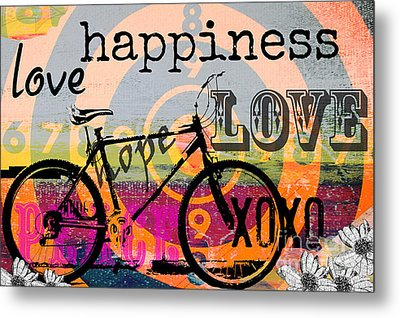 Bohemian Bicycle Love Metal Print by Anahi DeCanio