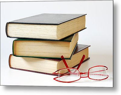 Books And Glasses Metal Print by Carlos Caetano