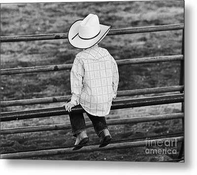 Born To Be A Cowboy Metal Print by Edward R Wisell