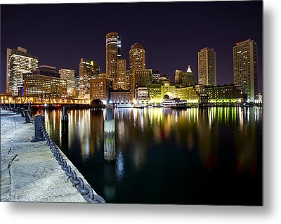 Boston Harbor Nightscape Metal Print by Shane Psaltis