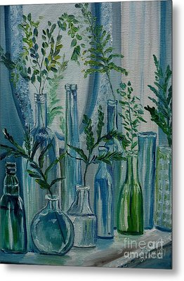 Metal Print featuring the painting Bottle Brigade by Julie Brugh Riffey