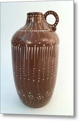 Bottle Of Deep Red Clay With White Slip Decoration And A Handle Metal Print