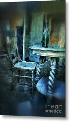 Bottle On Table In Abandoned House Metal Print